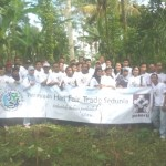 Pekerti staff and producers take a picture after planting trees